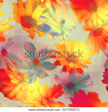 art vintage blur acrylic floral seamless pattern with gold, orange, red and grey asters on light background - stock photo