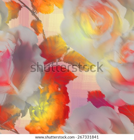 art vintage blur acrylic floral seamless pattern with white gold roses  and peonies on light background - stock photo
