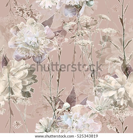 art vintage blurred monochrome beige watercolor and graphic floral seamless pattern with white peonies, roses and leaves on background. Double Exposure effect