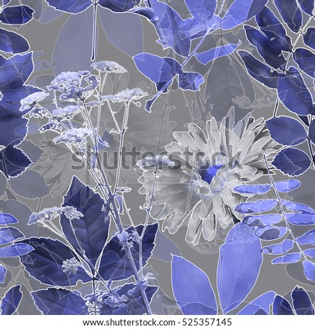 art vintage blurred monochrome blue watercolor and graphic floral seamless pattern with gerbera, grasses and leaves on grey background. Double Exposure effect