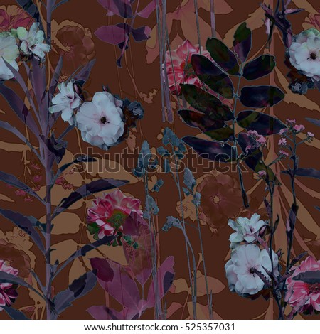 art vintage blurred monochrome brown watercolor and graphic floral seamless pattern with roses, grasses and leaves on dark background. Double Exposure effect