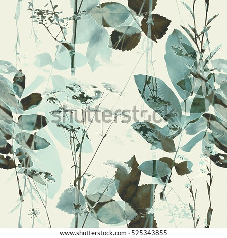 art vintage blurred monochrome green blue and brown watercolor and graphic floral seamless pattern with grasses and leaves on light background. Double Exposure effect