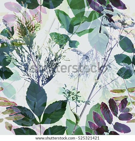art vintage blurred monochrome green blue watercolor and graphic floral seamless pattern with grasses and leaves on white background. Double Exposure effect