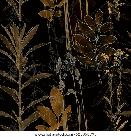 art vintage blurred monochrome old gold watercolor and graphic floral seamless pattern with grasses and leaves on black background. Double Exposure effect