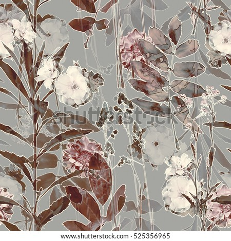 art vintage blurred monochrome purple watercolor and graphic floral seamless pattern with roses, grasses and leaves on grey background. Double Exposure effect