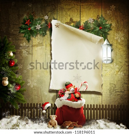 Art vintage Christmas greeting card - stock photo