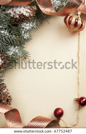 Art vintage Christmas greeting card - stock photo