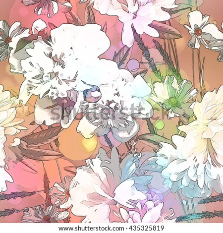 art vintage colored blurred floral seamless pattern with white peonies on light pink and gold background. Bokeh effect - stock photo
