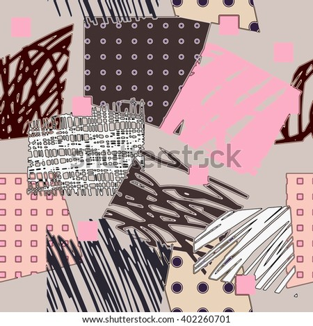art vintage colored chaotic geometric ornamental seamless pattern, background in white, purple, pink and black colors - stock photo