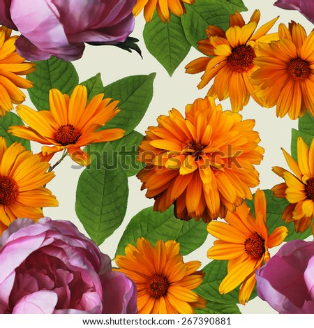 art vintage colorful graphic and watercolor floral seamless pattern with purple peonies and gold orange asters isolated on white background - stock photo