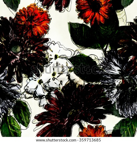 art vintage colorful watercolor and graphic floral seamless pattern with white, black and red gerbera asters and phlox isolated on white background - stock photo