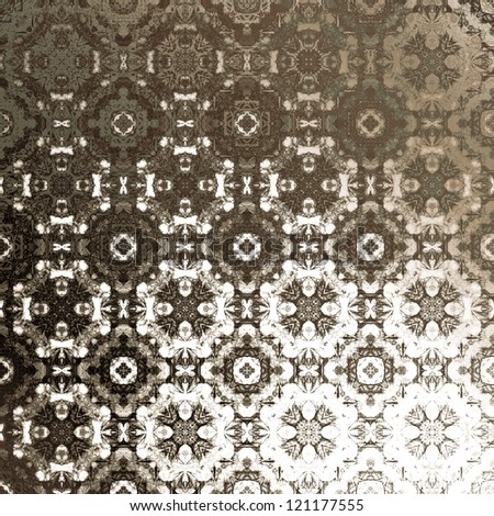 art vintage damask ornamental seamless pattern, silk background in white and brown colors - stock photo