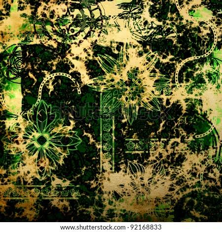 art vintage damask pattern background - stock photo
