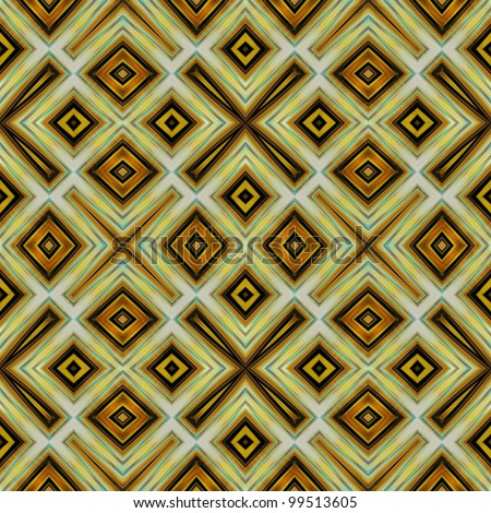 art vintage damask seamless pattern background in gold, brown, black, light green and beige colors - stock photo