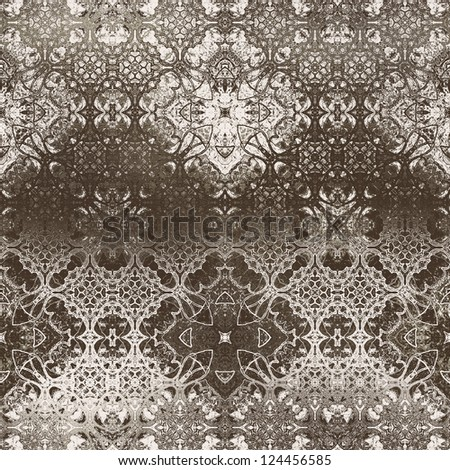 art vintage damask seamless pattern, monochrome silk background in grey brown and white colors - stock photo