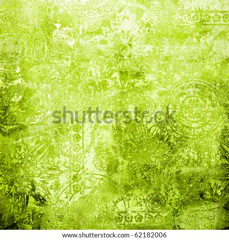 art vintage floral damask ornament grunge background in shades of green and white colors - stock photo