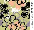 art vintage floral seamless pattern background. Vector version is also in my gallery. - stock