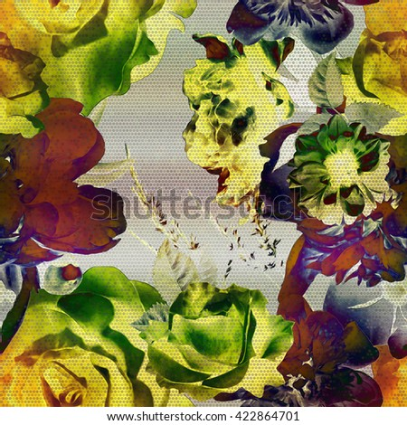 art vintage floral seamless pattern with gold green, purple and blue roses, peonies and leaves on grey  background; halftone effect  - stock photo