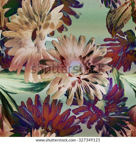 art vintage floral seamless pattern with purple, violet, green gerbera and leaves on light green  background; halftone effect  - stock photo