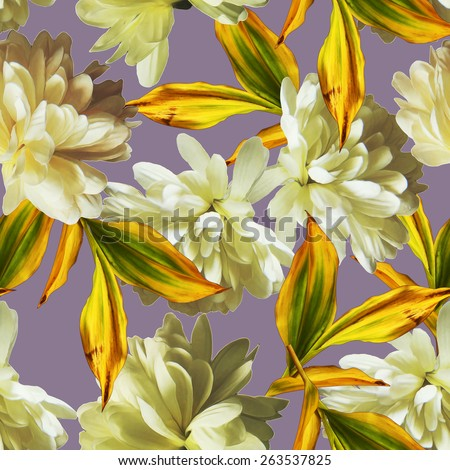 art vintage floral seamless pattern  with white asters on lilac grey background - stock photo