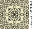 art vintage geometric ornamental pattern in beige and black graphic - stock photo