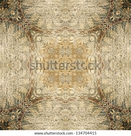 art vintage geometric ornamental pattern in black and sepia colors - stock photo