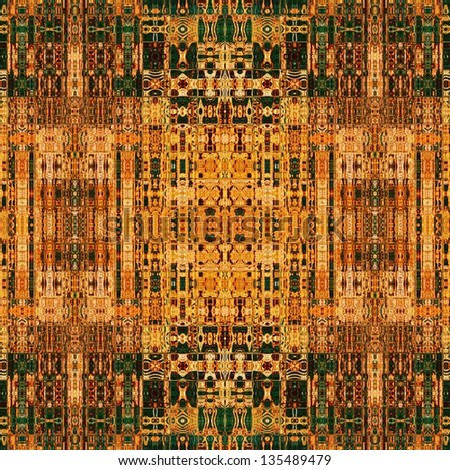 art vintage geometric traditional ornamental pattern in old gold, orange, brown and green colors - stock photo