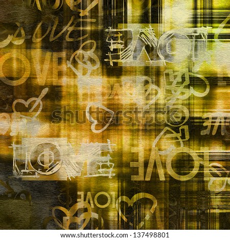 art vintage graffiti pattern background in brown, old gold, beige, green, white and black colors with word love and hearts - stock photo