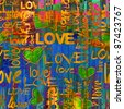 art vintage graffiti pattern, valentine background in gold, orange, blue, green and red colors with word love and hearts - stock photo