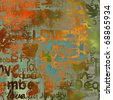 art vintage graffiti pattern, valentine background in orange, gold, green and blue colors with word love and hearts - stock photo