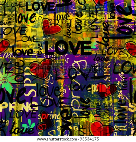art vintage graffiti pattern, valentine background in red, gold, purple, green, yellow and black colors with word love and hearts - stock photo