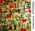 art vintage graffiti pattern, valentine background in red, old gold, beige and black colors with word love and hearts - stock photo
