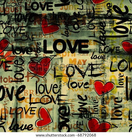 art vintage graffiti pattern, valentine background in red, old gold, beige, green and black colors with word love and hearts - stock photo