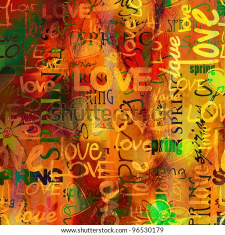 art vintage graffiti pattern, valentine background in red, old gold, orange, green and yellow colors with word love and hearts - stock photo