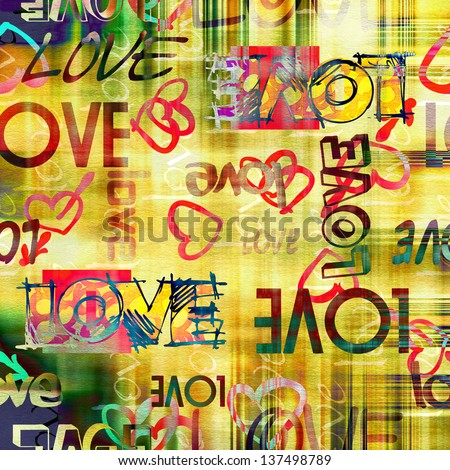 art vintage graffiti pattern, valentine background in red, old gold, yellow, green and white colors with word love and hearts - stock photo