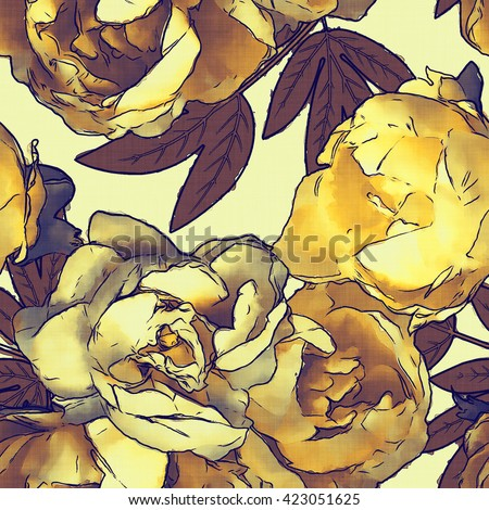 art vintage monochrome colored watercolor floral seamless pattern with gold peonies on light background - stock photo