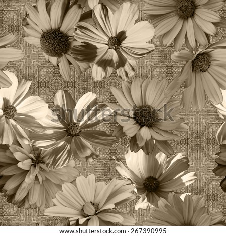 art vintage monochrome graphic and watercolor floral seamless pattern with grey and white asters on grey damask  background - stock photo