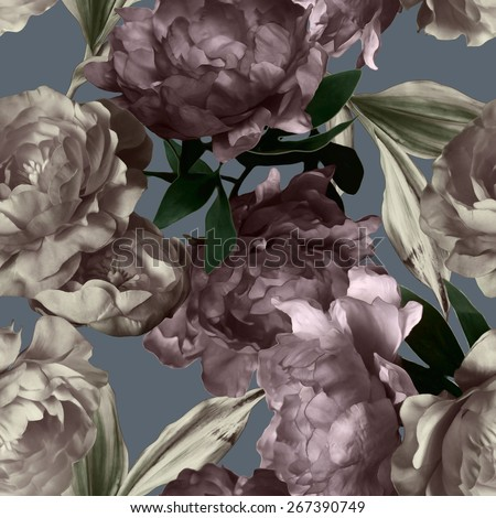 art vintage monochrome graphic and watercolor floral seamless pattern with white and purple peonies on grey background - stock photo