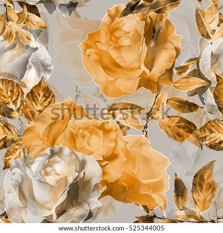art vintage monochrome orange blurred watercolor and graphic floral seamless pattern  with roses and leaves on background. Double Exposure effect