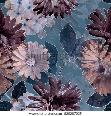 art vintage monochrome purple blurred watercolor and graphic floral seamless pattern with white gerbera and asters, dark leaves on grey background. Double Exposure effect.