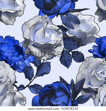 art vintage monochrome watercolor and graphic floral seamless pattern with white and blue roses, peonies and leaves isolated on white background