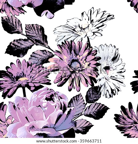 art vintage monochrome watercolor and graphic floral seamless pattern with white and lilac roses, asters and gerbera isolated on white background