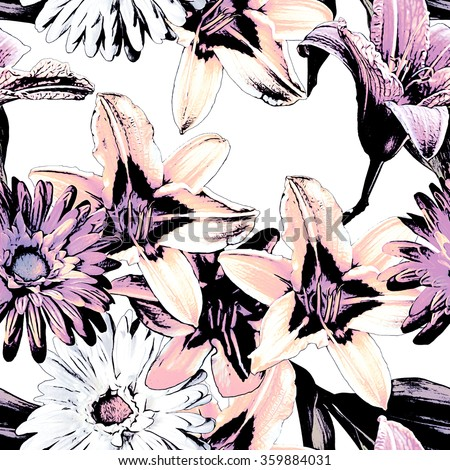 art vintage monochrome watercolor and graphic floral seamless pattern with white and violet lilies and gerbera isolated on white background