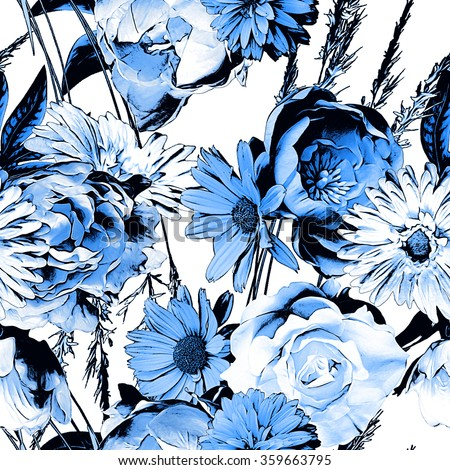 art vintage monochrome watercolor and graphic floral seamless pattern with white, black and blue roses, asters and peonies isolated on white background