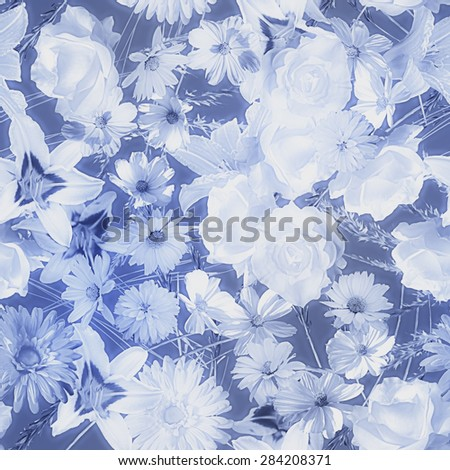art vintage monochrome watercolor blurred floral seamless pattern with blue and white roses, asters, lilies and gerberas isolated on dark blue background  - stock photo