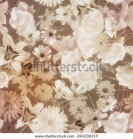 art vintage monochrome watercolor blurred floral seamless pattern with brown and white roses, asters, lilies and gerberas on dark  brown background  - stock photo