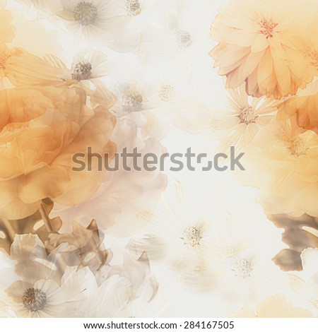 art vintage monochrome watercolor blurred floral seamless pattern with gold and white roses and gerberas isolated on white background. Double Exposure effect - stock photo