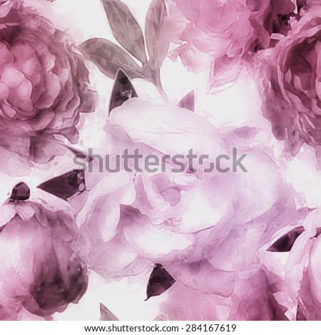 art vintage monochrome watercolor blurred floral seamless pattern  with pink and lilac peonies isolated on white background - stock photo