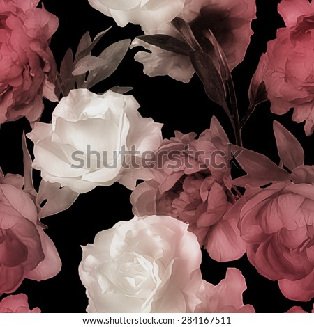 art vintage monochrome watercolor blurred floral seamless pattern with white roses and red peonies isolated on black background - stock photo
