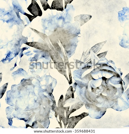 art vintage monochrome watercolor floral seamless pattern with blue peonies on white background
